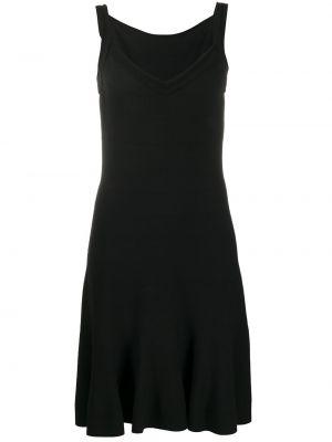 Черное приталенное платье мини с V-образным вырезом на молнии Alaïa Pre-owned