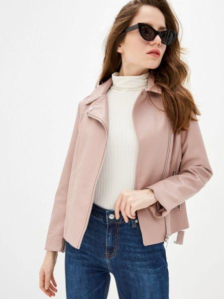 Кожаная куртка весенняя розовая Zarina