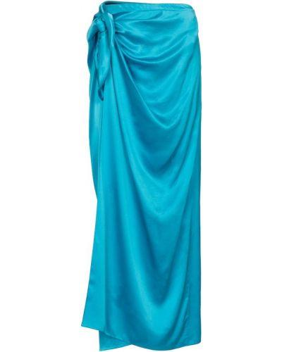 Niebieska spódnica kopertowa z jedwabiu Balenciaga