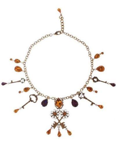 Fioletowy złoty naszyjnik Dolce And Gabbana
