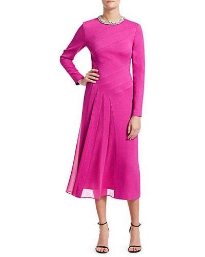 Розовое платье миди с длинными рукавами с декольте Escada