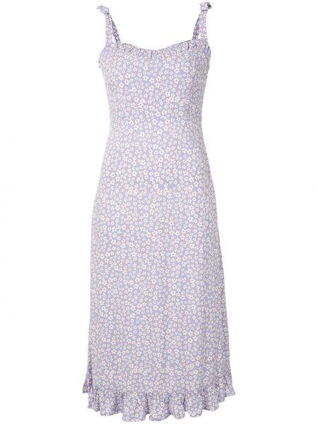 Фиолетовое платье миди с V-образным вырезом на молнии без рукавов Auguste