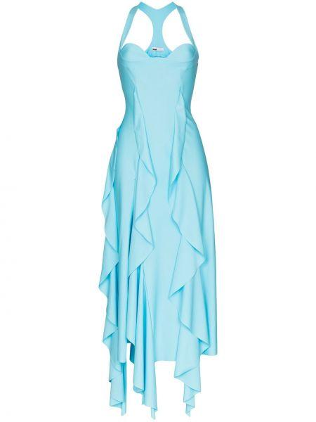 Niebieska sukienka elegancka asymetryczna Gmbh