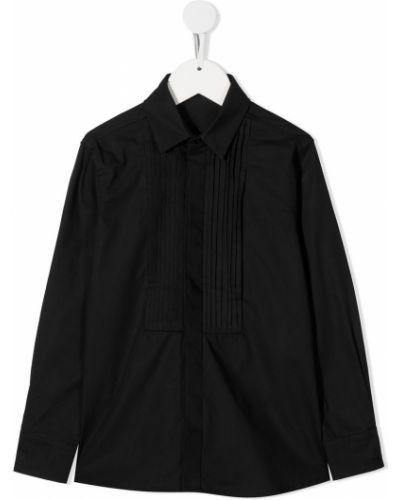 С рукавами черная классическая рубашка с воротником Monnalisa