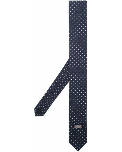 Синий галстук металлический в горошек Emporio Armani