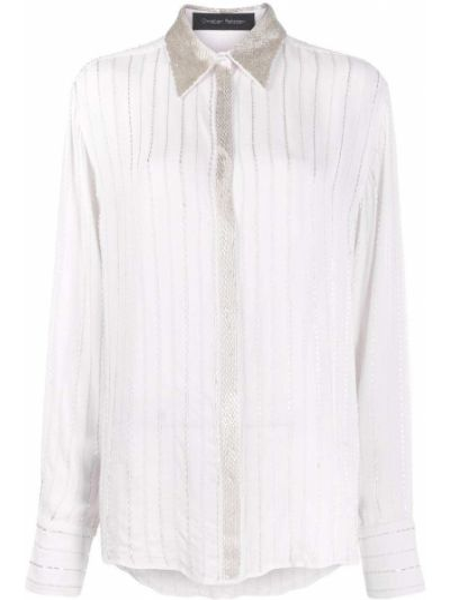 Белая рубашка с воротником с бисером на пуговицах Christian Pellizzari