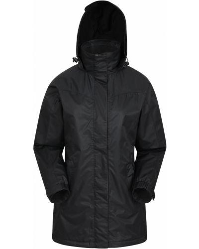 Czarna długa kurtka z kapturem materiałowa Mountain Warehouse