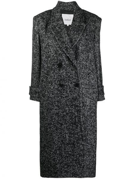 Шерстяное черное длинное пальто двубортное Ba&sh