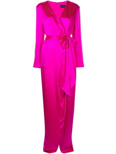 Розовое платье с запахом с длинными рукавами с V-образным вырезом Brandon Maxwell