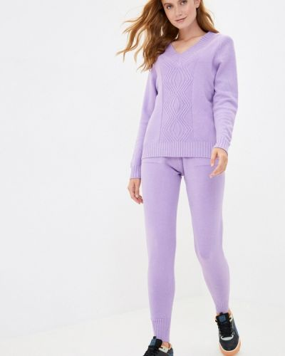 Костюмный фиолетовый вязаный костюм Grand Style