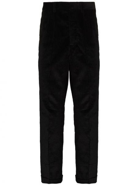 Czarne spodnie sztruksowe z paskiem Ami