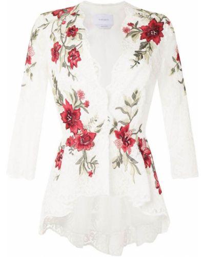 Белая блузка с вышивкой из вискозы Marchesa