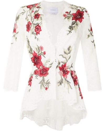 Блузка с вышивкой - белая Marchesa