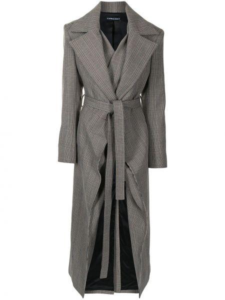 Коричневое шерстяное длинное пальто с лацканами Y/project