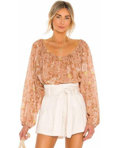 Светло-розовая шелковая блузка на резинке Mes Demoiselles