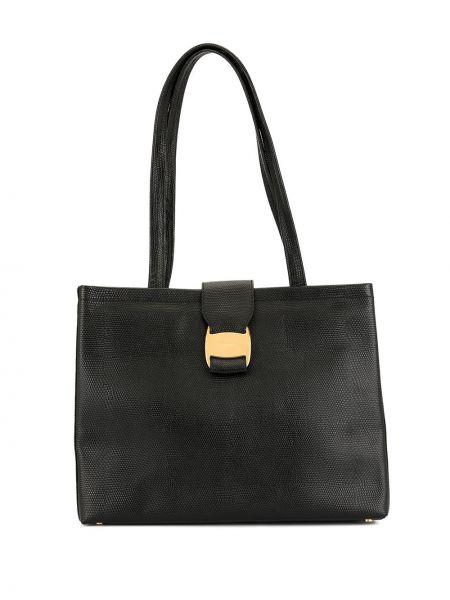 Черная сумка-тоут на молнии с карманами винтажная Salvatore Ferragamo Pre-owned