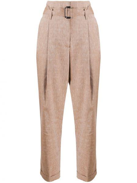 Шерстяные коричневые укороченные брюки с карманами Peserico