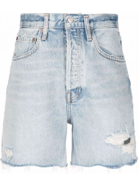 Хлопковые синие джинсовые шорты с карманами Agolde