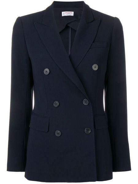 Приталенный синий пиджак двубортный Alberto Biani