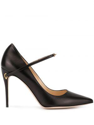 Золотистые черные туфли-лодочки с пряжкой на каблуке Jennifer Chamandi