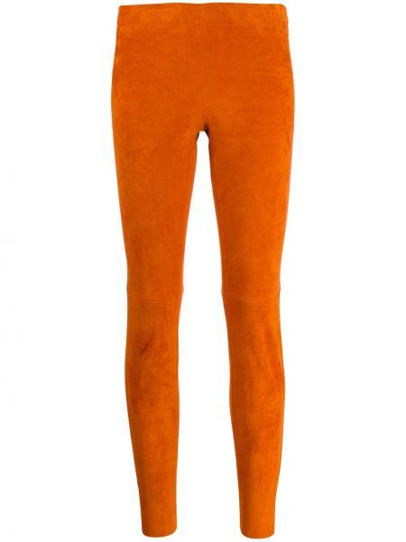 Оранжевые кожаные леггинсы узкого кроя Stouls