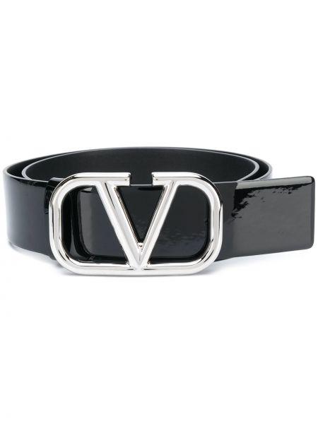 Кожаный черный ремень с пряжкой Valentino Garavani