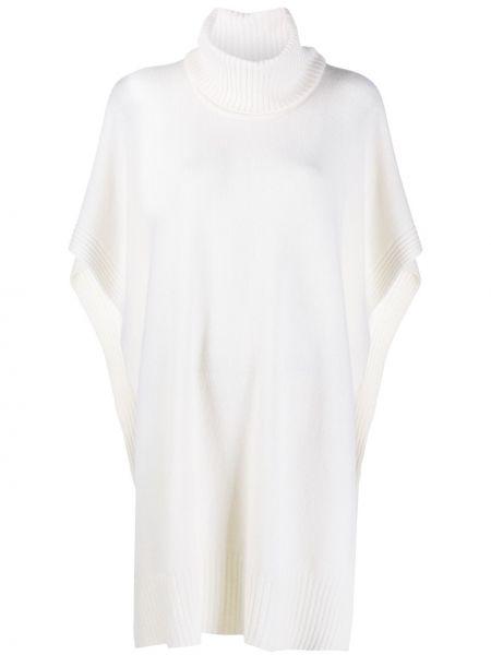 Biały ponczo wełniany krótki rękaw Roberto Collina