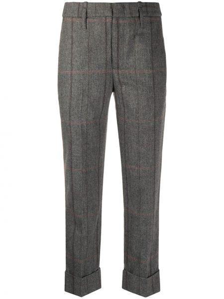 Брючные серые укороченные брюки с поясом с высокой посадкой Tela