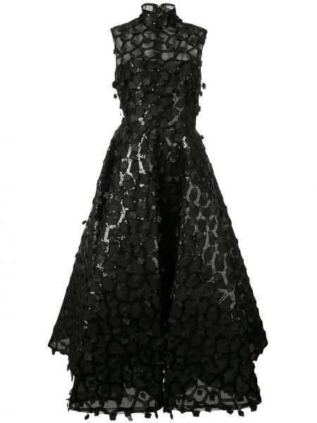 Черное приталенное платье миди с воротником без рукавов Christian Siriano