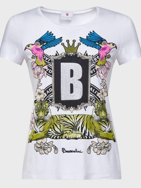 Хлопковая футбольная белая футболка Braccialini