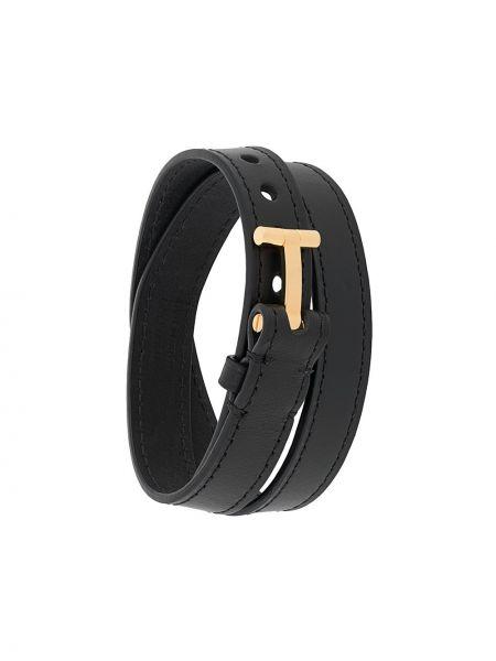 Кожаный черный браслет с пряжкой Tom Ford