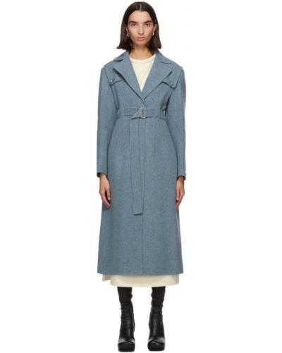 Синее шерстяное длинное пальто с воротником Sportmax