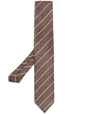 Brązowy krawat w paski z jedwabiu Lardini