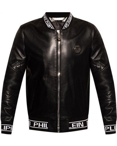 Czarna kurtka skórzana Philipp Plein