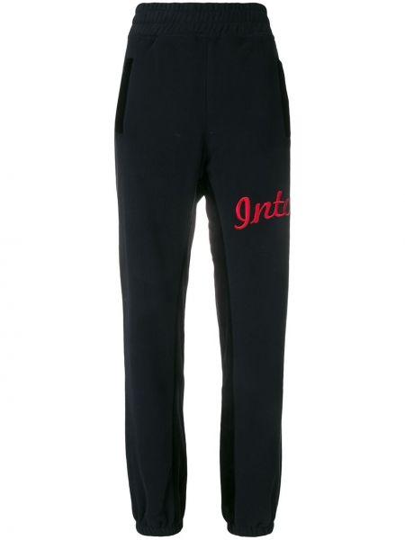 Хлопковые черные спортивные брюки с вышивкой с поясом Intoxicated