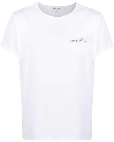 Biały t-shirt bawełniany z haftem Maison Labiche