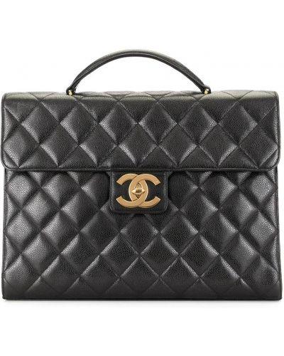 Кожаный черный портфель с карманами на молнии Chanel Pre-owned