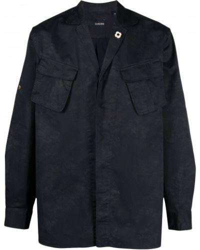 Niebieska koszula bawełniana z długimi rękawami Lardini