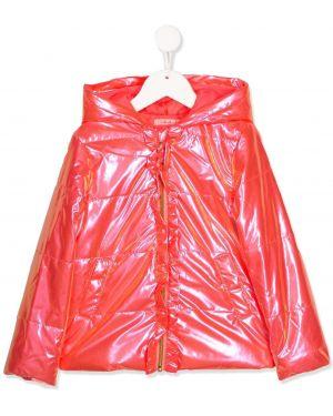 Różowa kurtka z kapturem z falbanami Billieblush