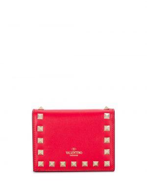 Кожаный кошелек золотой с логотипом Valentino