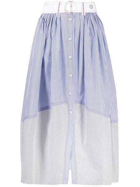 Синяя юбка миди на пуговицах в полоску Chloé
