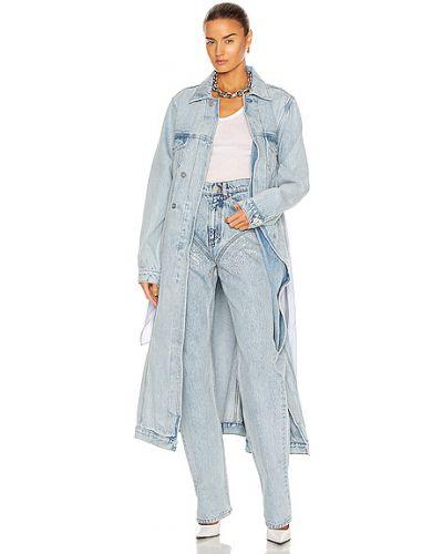Хлопковое синее пальто с карманами Y/project