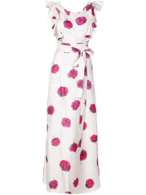 Белое шелковое платье с рисунком La Doublej
