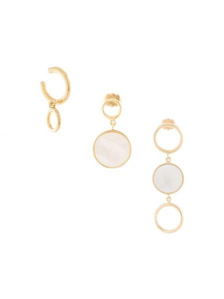 Białe złote kolczyki sztyfty pozłacane Joanna Laura Constantine