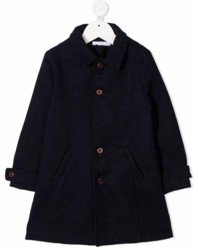 Прямое синее длинное пальто с воротником из вискозы Patachou