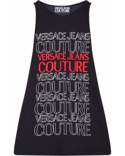 T-shirt bawełniany z haftem Versace Jeans Couture