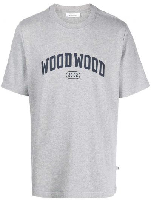 Футболка с принтом - серая Wood Wood