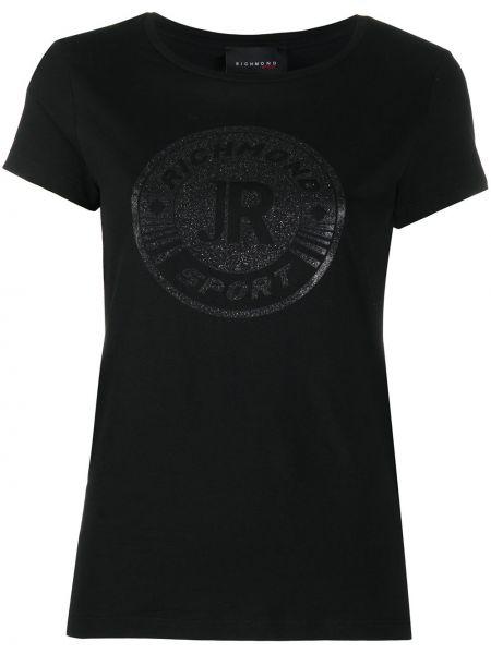 С рукавами черная рубашка круглая John Richmond