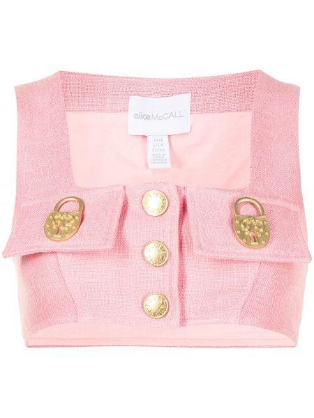 Розовый топ на пуговицах с вырезом Alice Mccall
