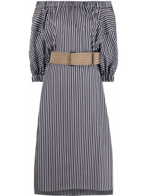 Открытое черное платье миди в полоску Brunello Cucinelli